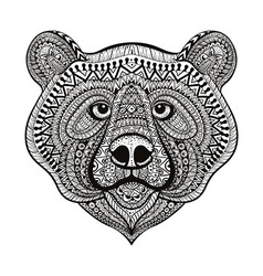 Zentangle stylized Bear face Hand Drawn doodle vector image vector image