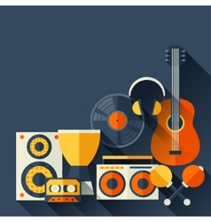 Background with musical instruments in flat design vector image