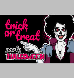 pop art halloween zombie sexy woman vector image vector image