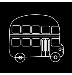 Symbol double-Decker bus black background vector image