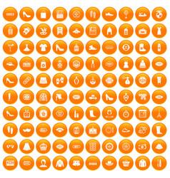 100 woman shopping icons set orange vector