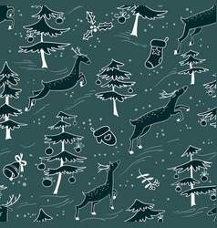 Christmas seamless pattern with cute deers in vector