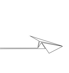 continuous line drawing of paper airplane vector image vector image