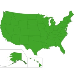 Green usa map vector