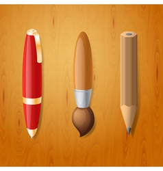 Pen pencil and brush icons vector image