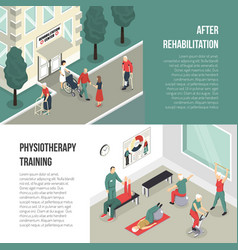 rehabilitation and physiotherapy training banners vector image vector image