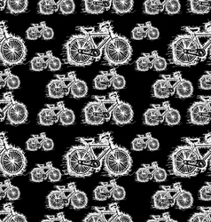 seamless pattern of sketch white bicycle vector image vector image