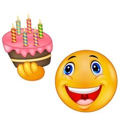 Smiley emoticon holding birthday cake vector image vector image