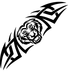 Tiger and symmetric tribals - vector image vector image