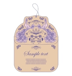 Vintage tag with peacock vector image