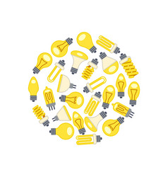 yellow light bulbs icons in circle on white vector image