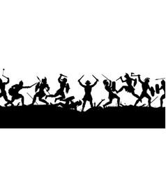 ancient battle scene silhouette vector image vector image