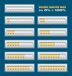 Golden loading bars vector