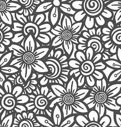 Hand drawn seamless Flower pattern Doodle style vector image vector image