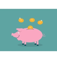 Smiling pretty pink pig piggy bank with falling vector image vector image