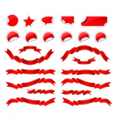 stickers and ribbons set vector image