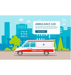ambulance car on backdrop cityscape flat vector image