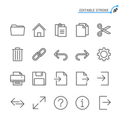 application toolbar line icons editable stroke vector image