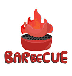 barbecue grilled sausage white background i vector image