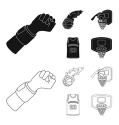 basketball and attributes blackoutline icons in vector image