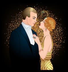 Beautiful couple in art deco style retro fashion vector