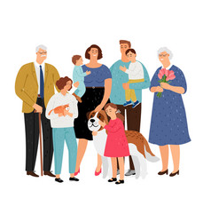 big family with pet vector image