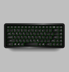 Black compact keyboard with green neon vector image