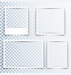 blank white frames with realistic drop shadow vector image