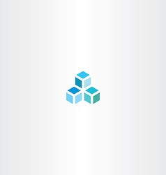 blue cube logo icon element vector image