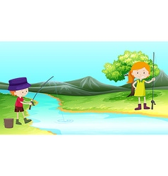 Boy and girl fishing by the river vector image