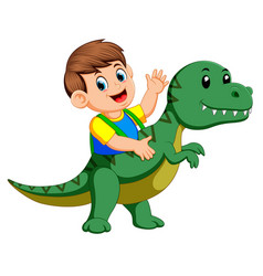 boy using the tyrannosaurus rex costume vector image