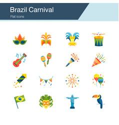 brazil carnival icons flat design vector image