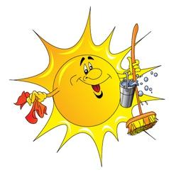 Cartoon Sun Cleaner vector image
