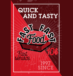 color vintage fast food banner vector image