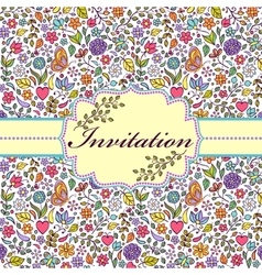 Colorful floral invitation card vector