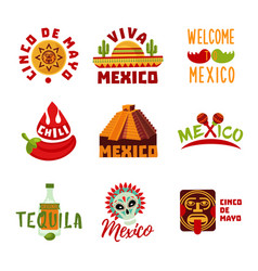 colorful mexico logotypes set vector image