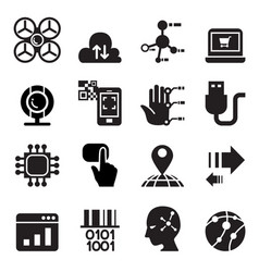 Computer electronic technology icon set vector