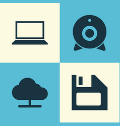 Computer icons set collection of diskette tree vector