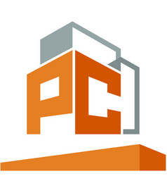 Construction business logo with initials vector