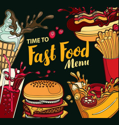 cover for fast food menu in retro style vector image