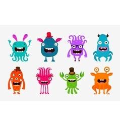 cute cartoon monsters alien or ghost set icons vector image