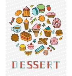 Cute collection of hand drawn sweets and desserts vector image