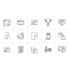 education hand drawn sketch icon set vector image