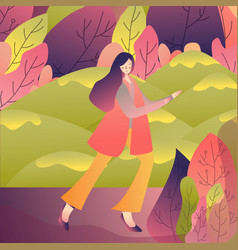 female walking alone enjoy refreshing outdoor vector image