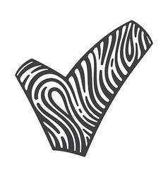Fingerprint V letter logo and a checkmark vector image