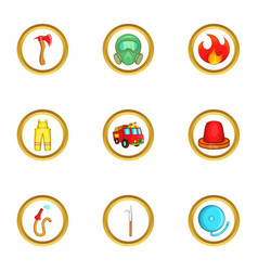 Fireman icon set cartoon style vector