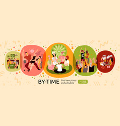 Free time activities banner vector