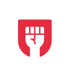 Freedom logo concept red shied and fist vector