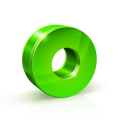 Glossy green zero 0 number 3d on vector