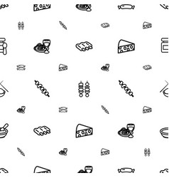 Gourmet icons pattern seamless white background vector